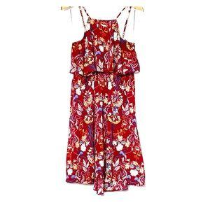 ANGIE • Floral Burgundy Wine Halter Easy Dress